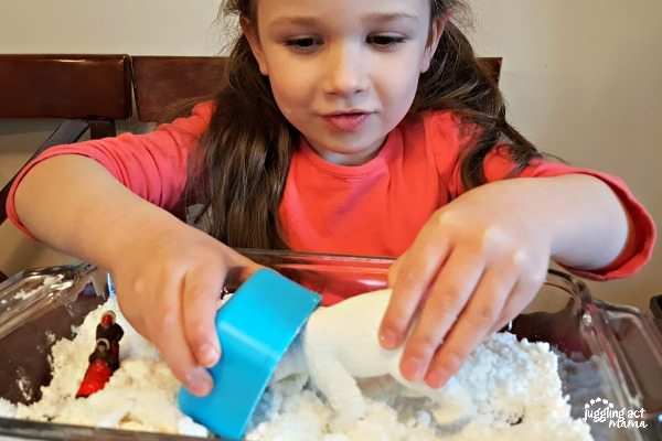 faux snow sensory fun for snow days #boredombuster