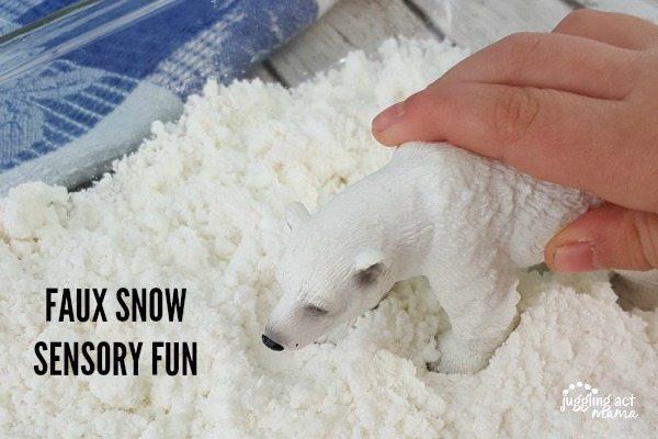 faux snow sensory fun for snow days
