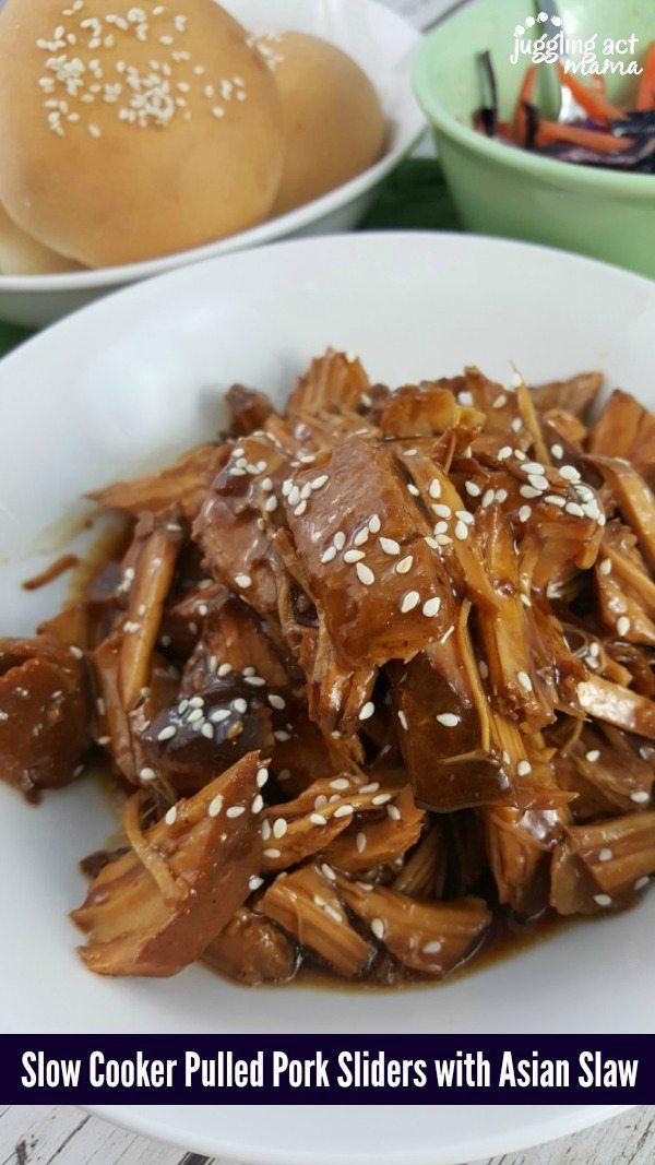 Slow Cooker Pulled Pork Sliders + Asian Slaw - Rhodes Bread #ad