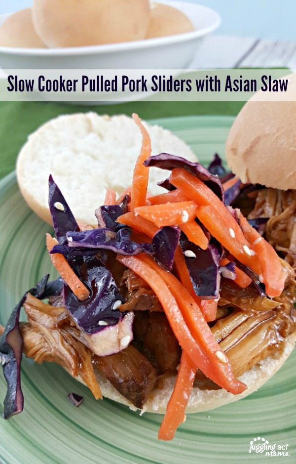 Slow Cooker Pulled Pork Sliders with Asian Slaw #ad