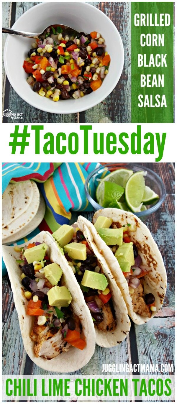 These Chili Lime Chicken Tacos with Grilled Corn Black Bean Salsa are perfect for #TacoTuesday! #ad #GrillIt #HamiltonBeach